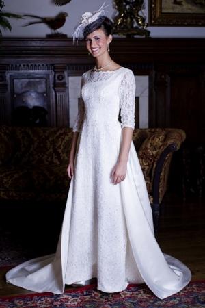 Modest couture designer wedding dresses onewed for Modest wedding dress designers
