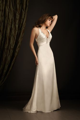 Exclusive bridals by allure wedding dress style 2402 dress for Wedding dress no train
